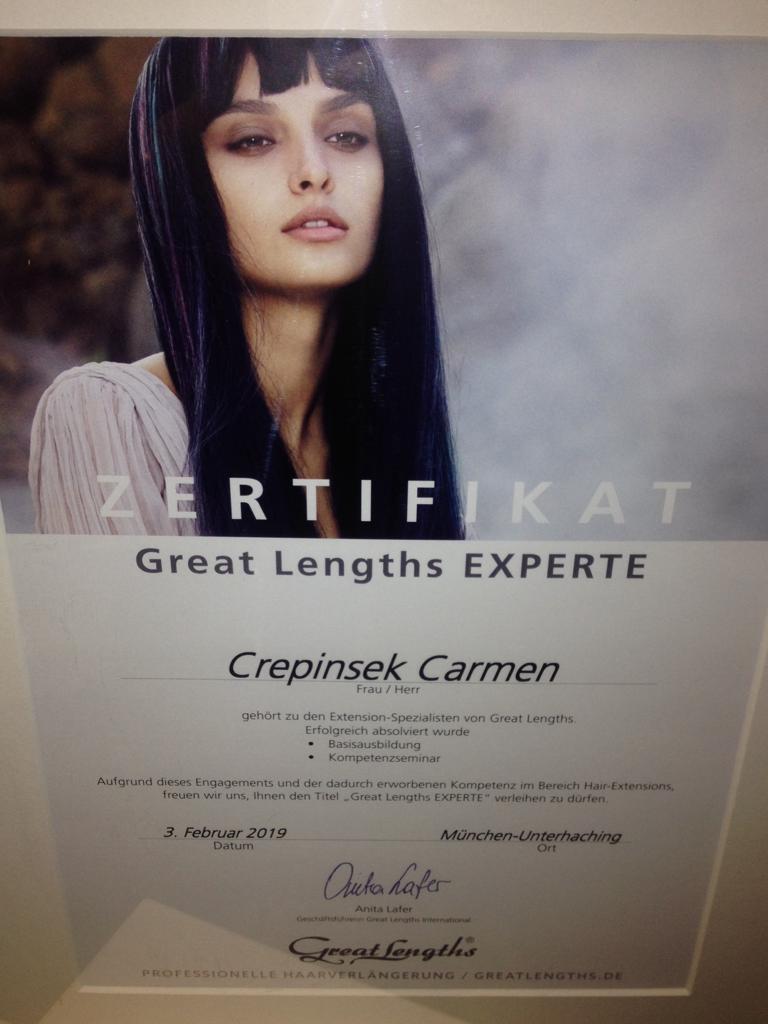 Haarverlängerung Zertifikat Carmen Crepinsek